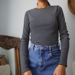 Hollister Navy Blue White Stripe Long Sleeve M